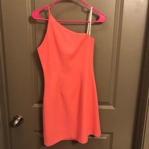 Coral One-Shoulder Mini Dress